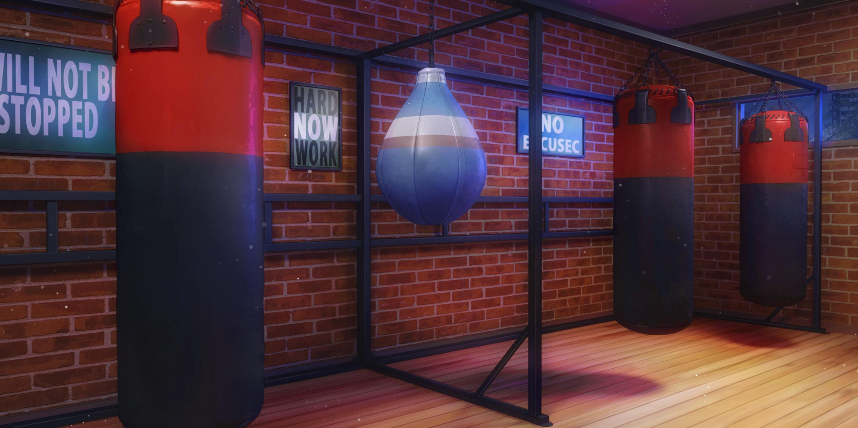 Image d'une salle de sport de nuit dans le jeu Is It Love