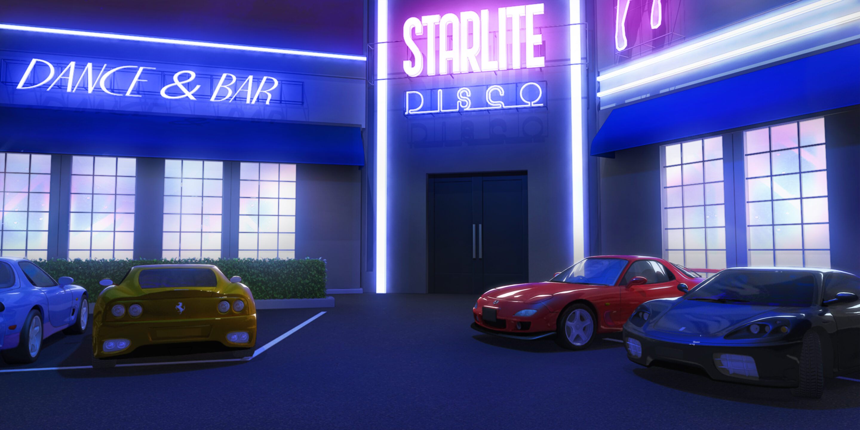 Image d'un parking de bar dans le jeu Is It Love
