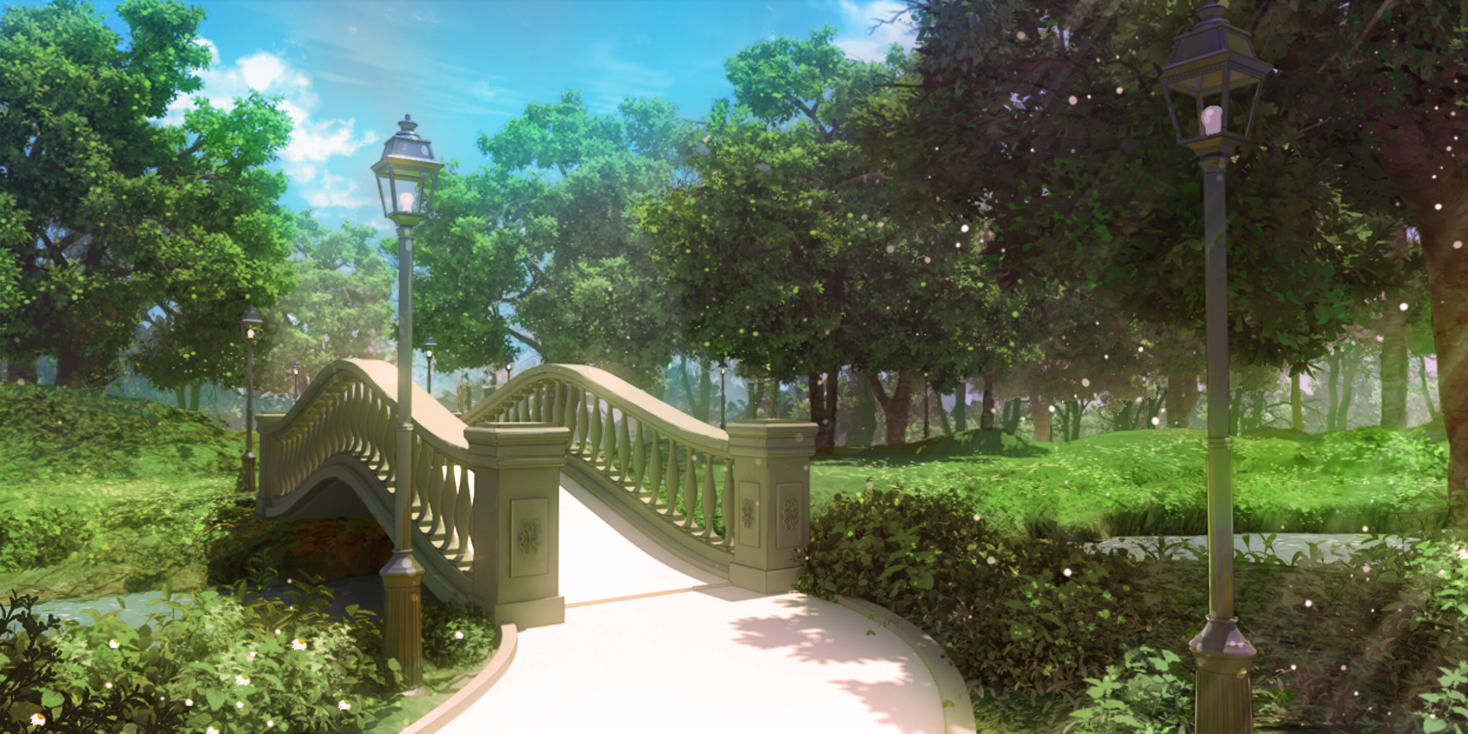 Un parc de jour dans le visual Novel Is It Love