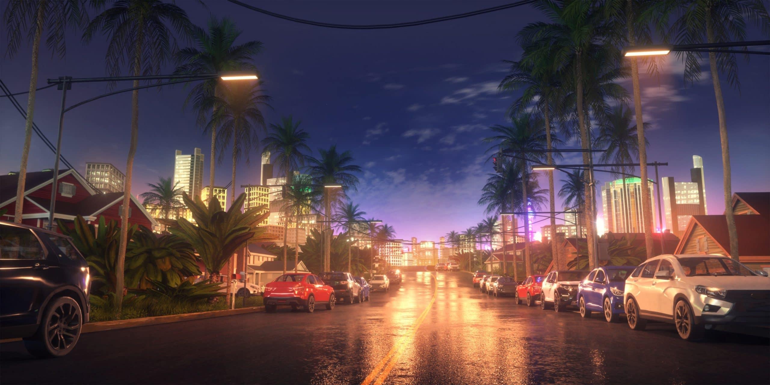 James personnage de Is It Love et vue de nuit d'une rue