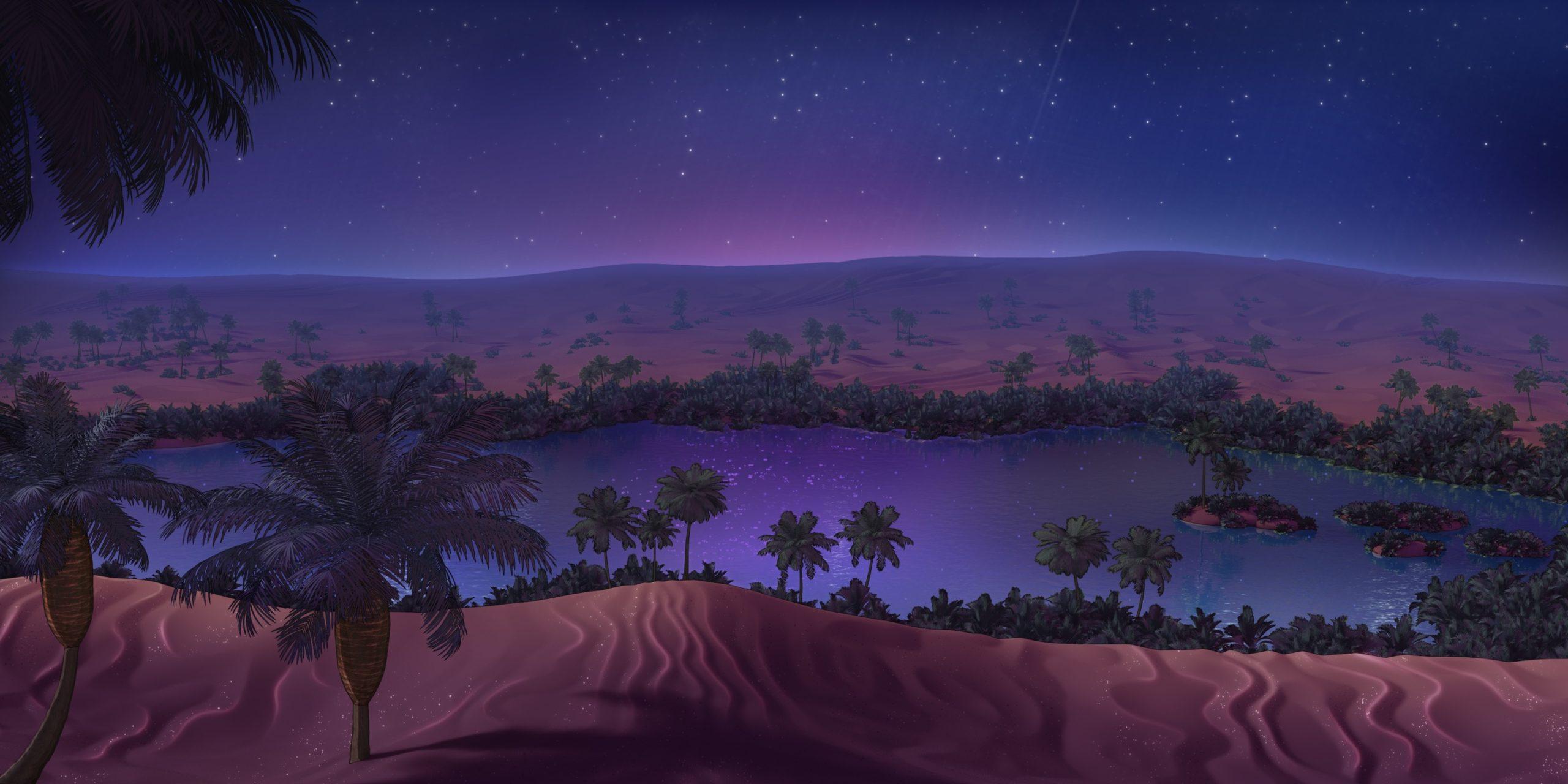 Sebastian personnage de Is It Love et vue d'un oasis