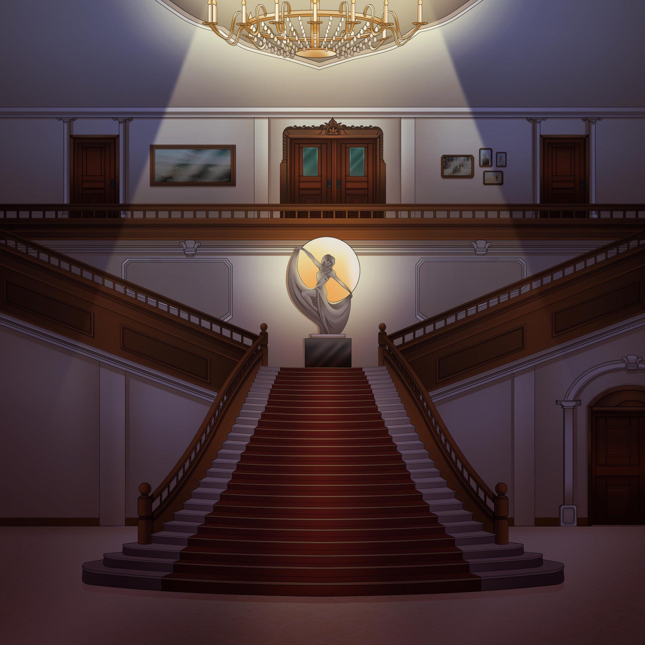 Nicolae personnage de Is It Love et vue d'un hall de nuit