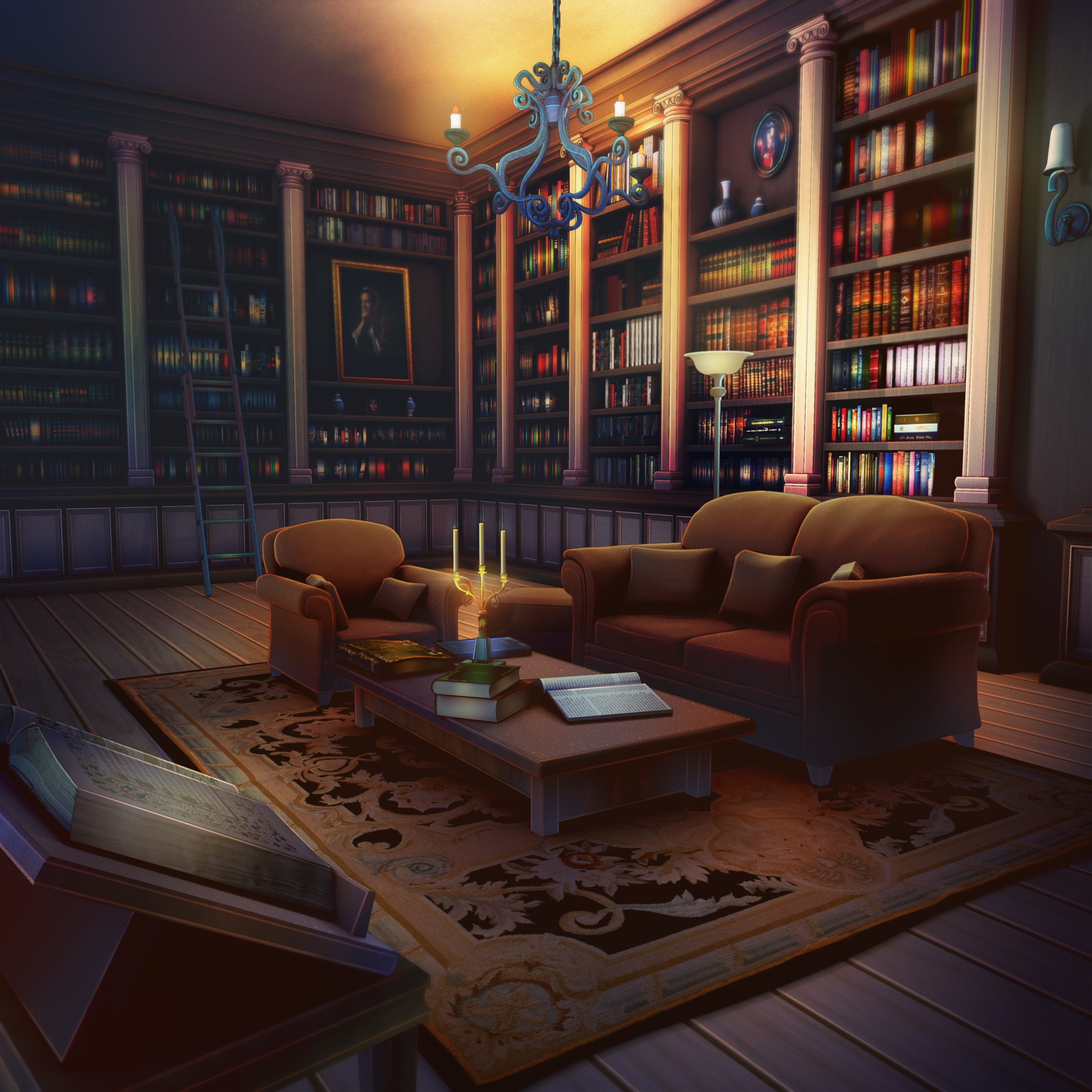 Nicolae personnage de Is It Love et vue d'une bibliothèque