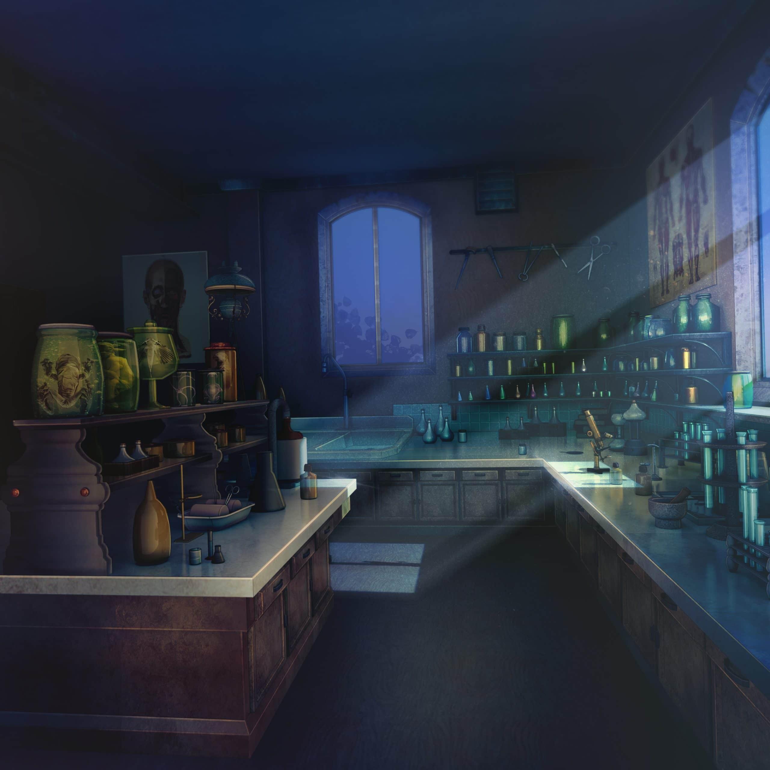 Nicolae personnage de Is It Love et vue d'un labo