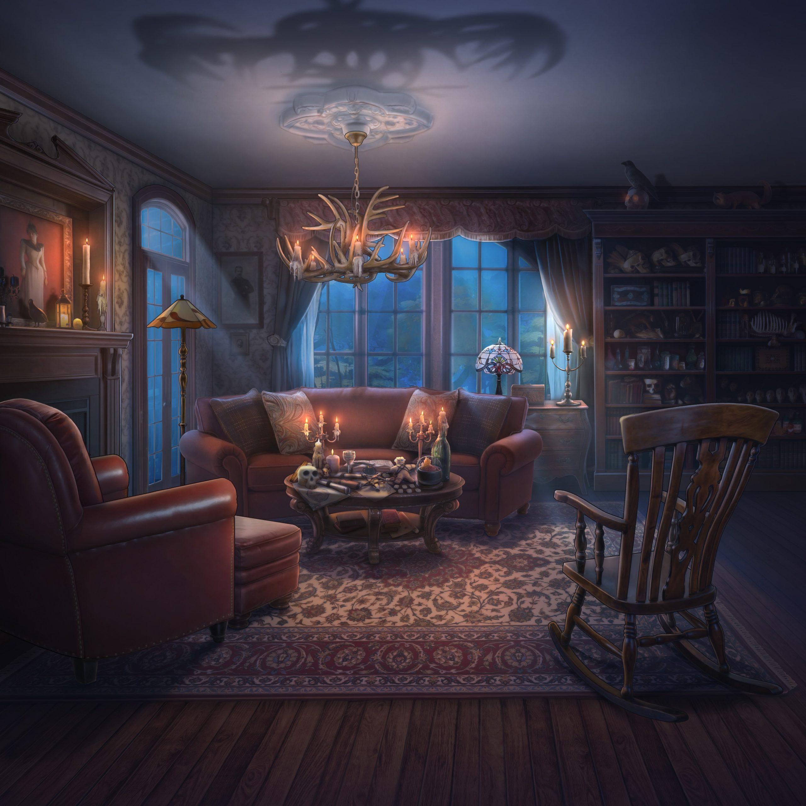 Drogo personnage de Is It Love et le décor du salon de la maison de cassandre