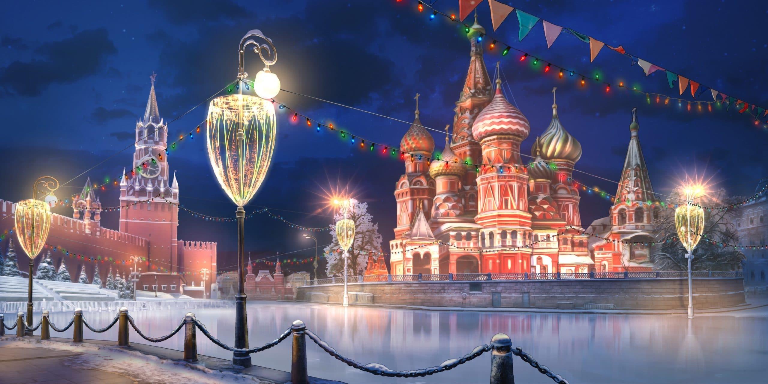 jake personnage de Is It Love et le décor de la place rouge en russie