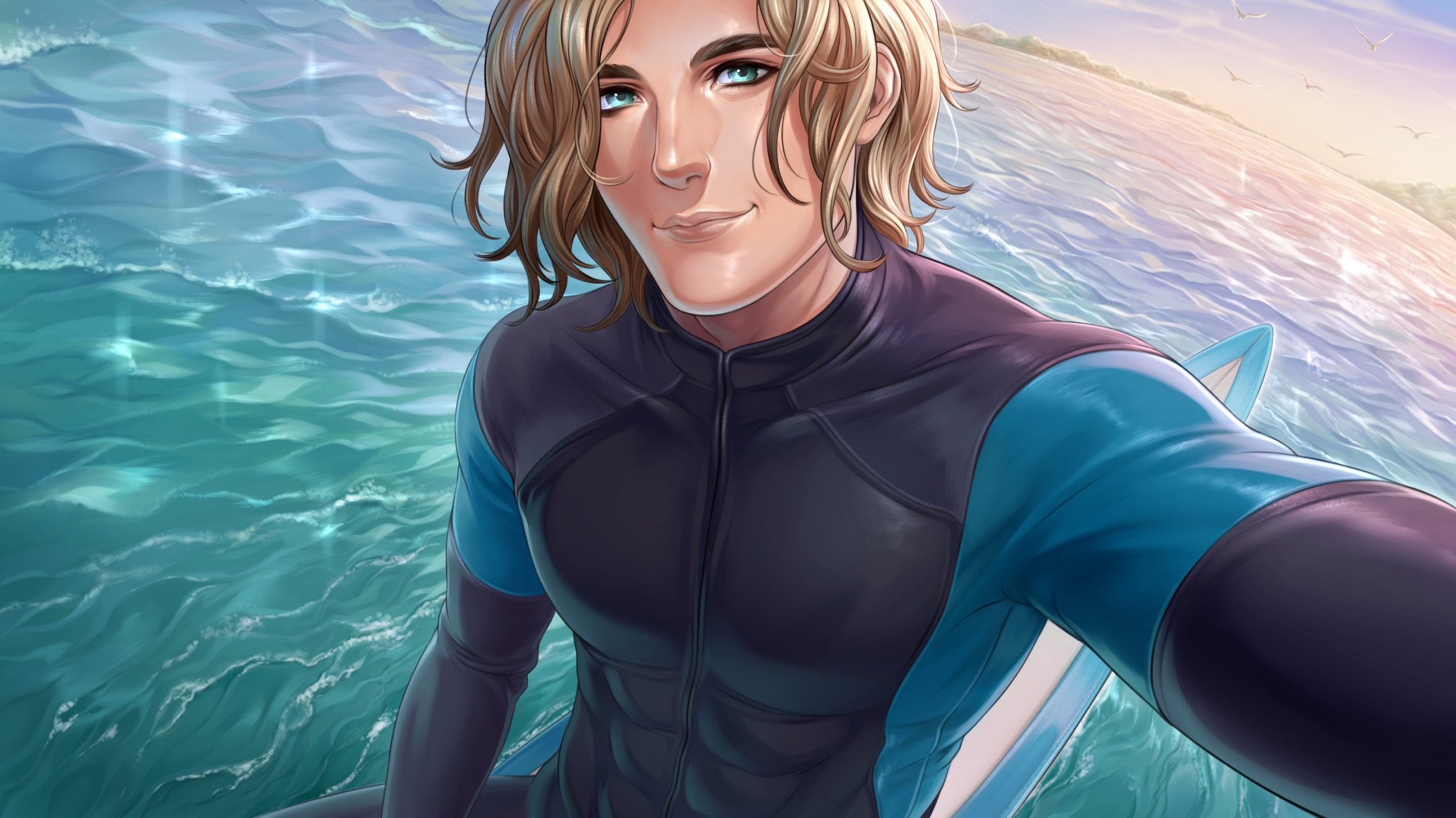 Adam personnage de Is It Love fait du surf