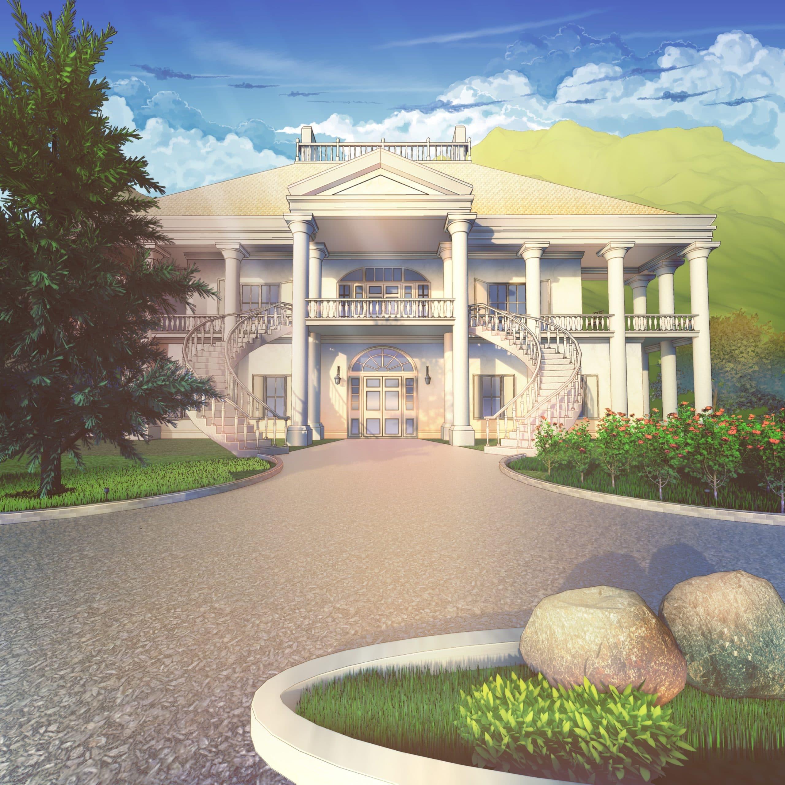 Adam personnage de Is It Love et le décor d'une villa de jour