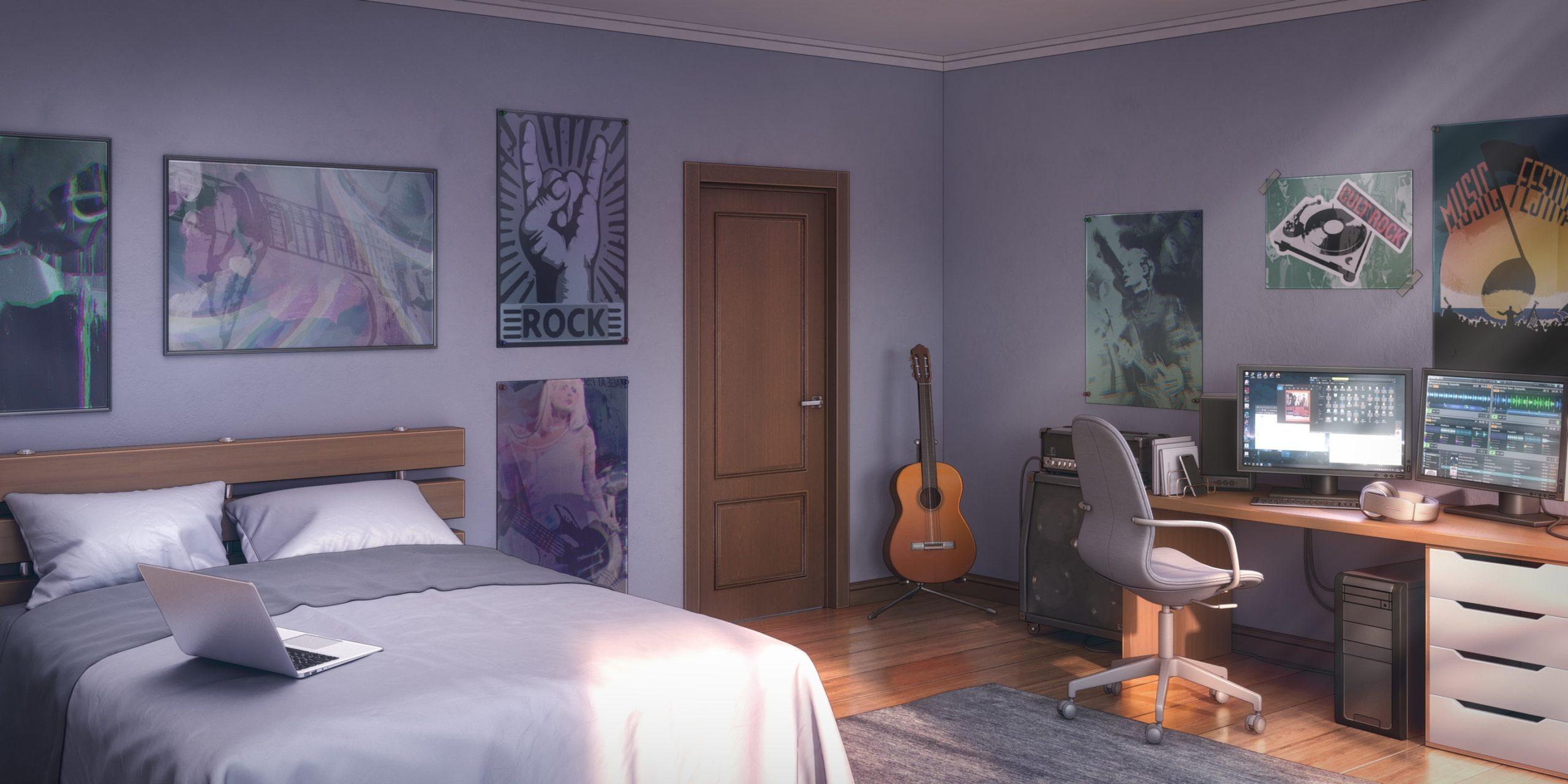 Colin personnage de Is It Love et le décor d'une chambre