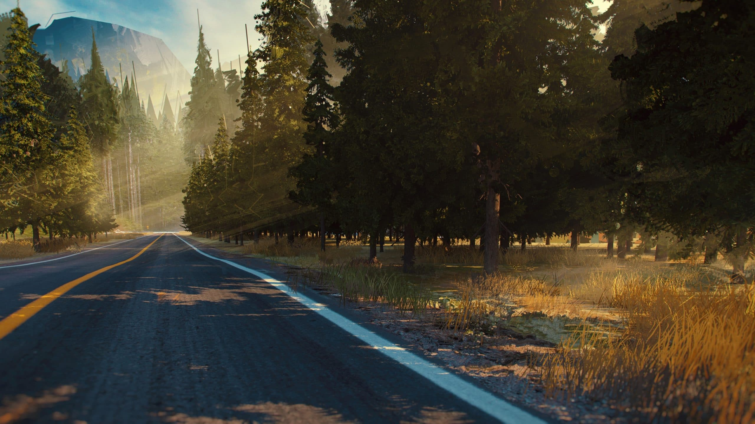 Vue d'une forêt du scénario Fallen Road du jeu Is It Love