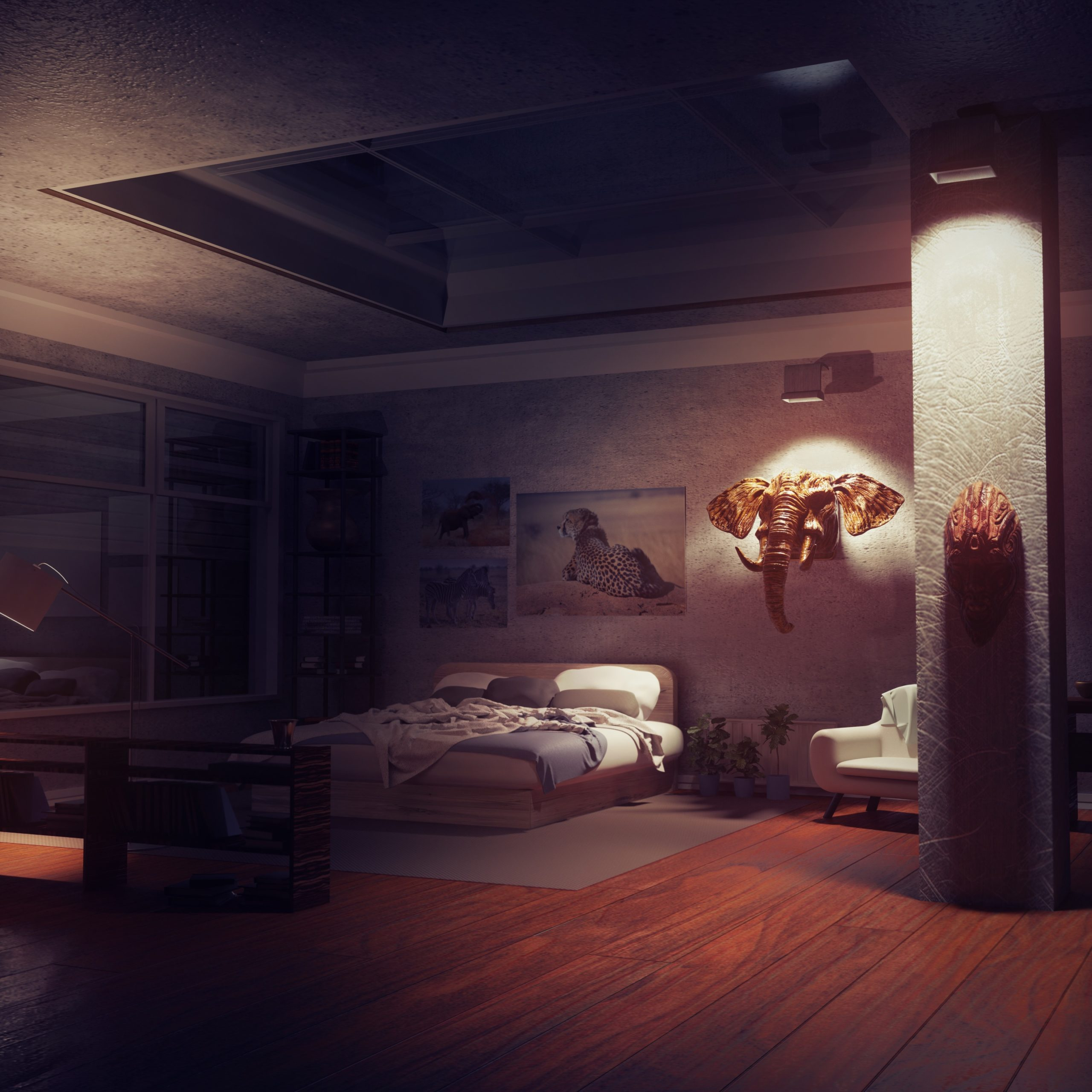 Décor d'une chambre du scénario Blue Swan du jeu Is It Love