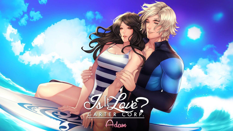 Adam personnage du jeu Is It Love fait du surf avec une femme