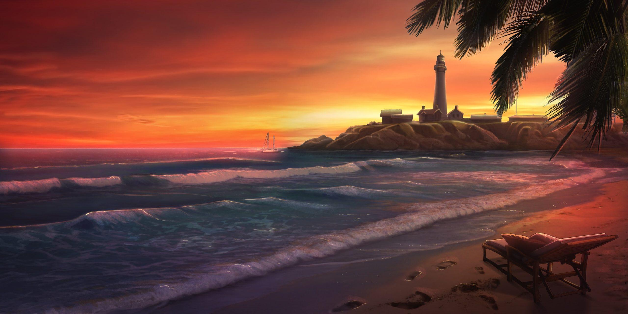 Image d'une plage au crépuscule dans le jeu Is It Love