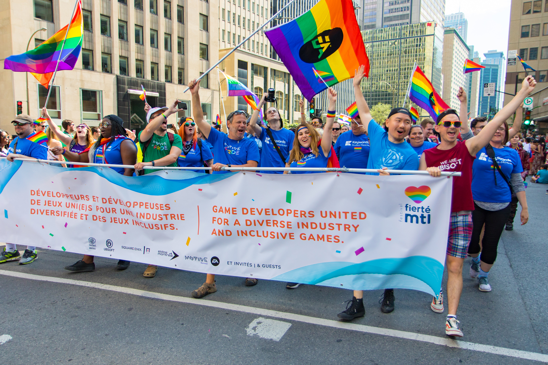 United for a diverse and inclusive industry at the Montreal pride parade