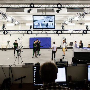 Motion Capture actors on stage at the Ubisoft Toronto performance capture studio