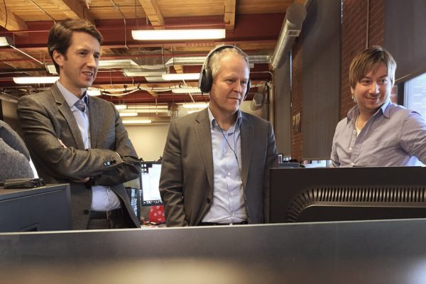Ubisoft CEO yves guillemot watches footage on screen of the Ubisoft Toronto performance capture studio