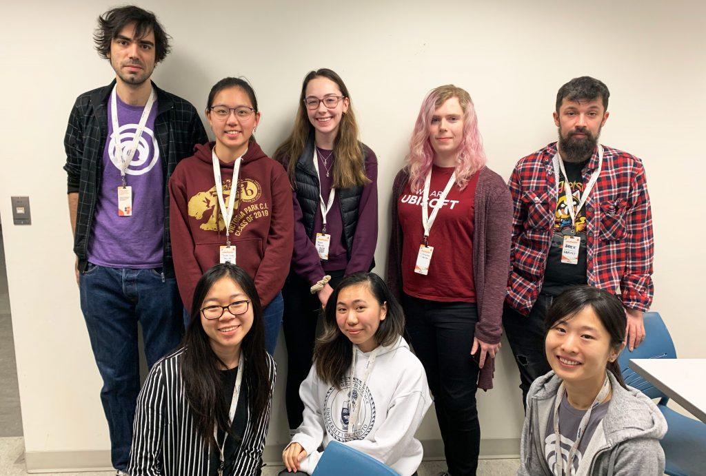 Ubisoft Toronto Programemrs with SheHacks winners of the Ubisoft Hackers Nest API Challenge