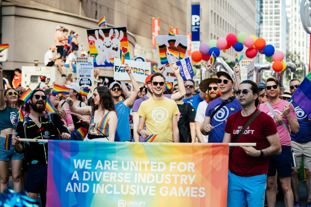 The Ubisoft Toronto team at the 2019 Toronto Pride Parade. We are united for a diverse industry and inclusive games.