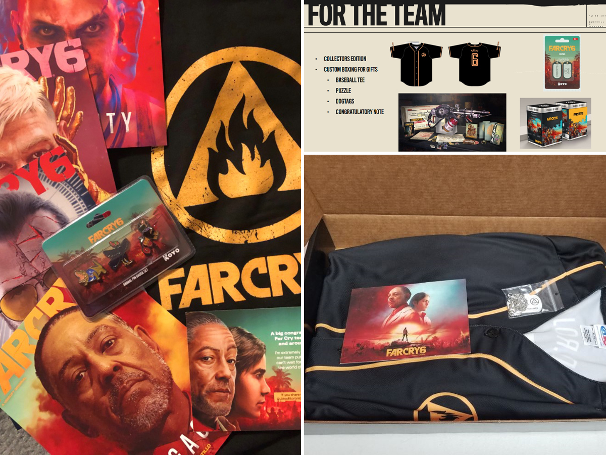 Far Cry 6 swag package for Ubisoft Toronto production teams