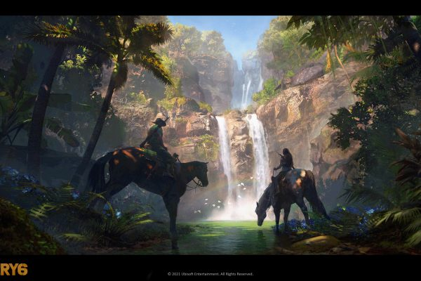 Art of two figures riding horses by waterfall